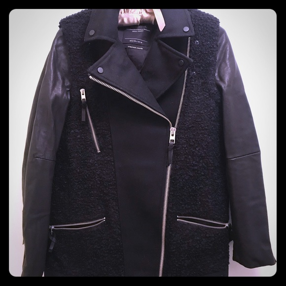 All Saints Wool and Leather CoatJacket